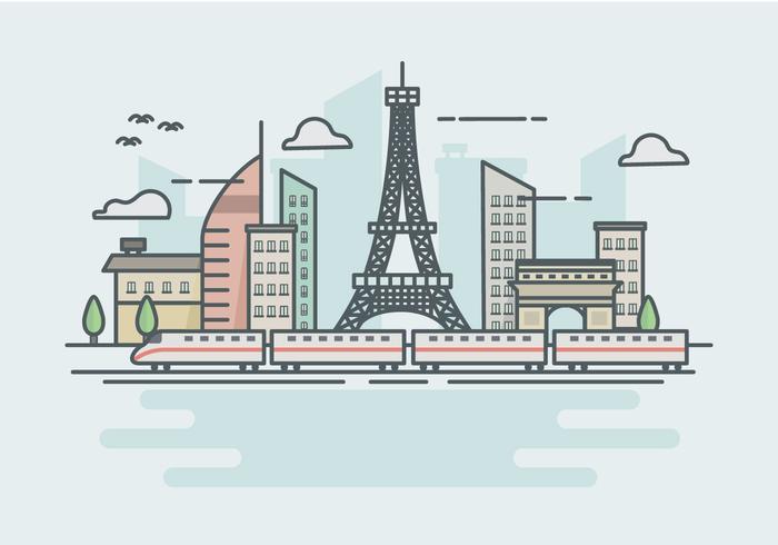 Ilustration del lanscape del treno della città del TGV della ferrovia ad alta velocità