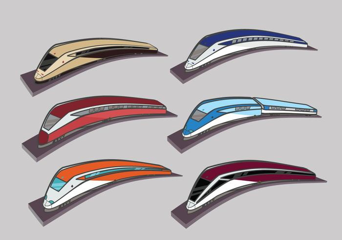 High speed rail TGV city train illustration color