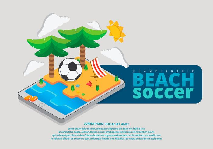 Beach Soccer Isometric Illustration