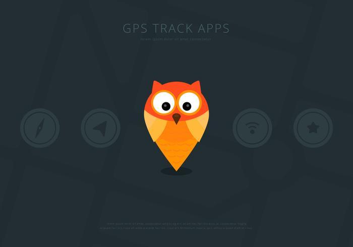 Elementi di vettore dell'interfaccia utente di posizione GPS gufo