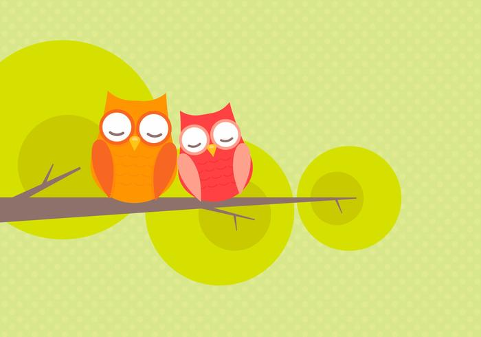 Cute Owl Couple Falling In Love Vector