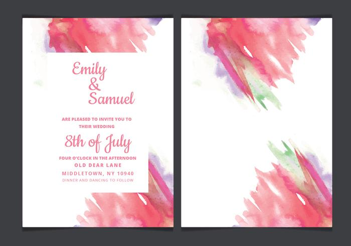 Vector Wedding Invitation with Watercolor Accents