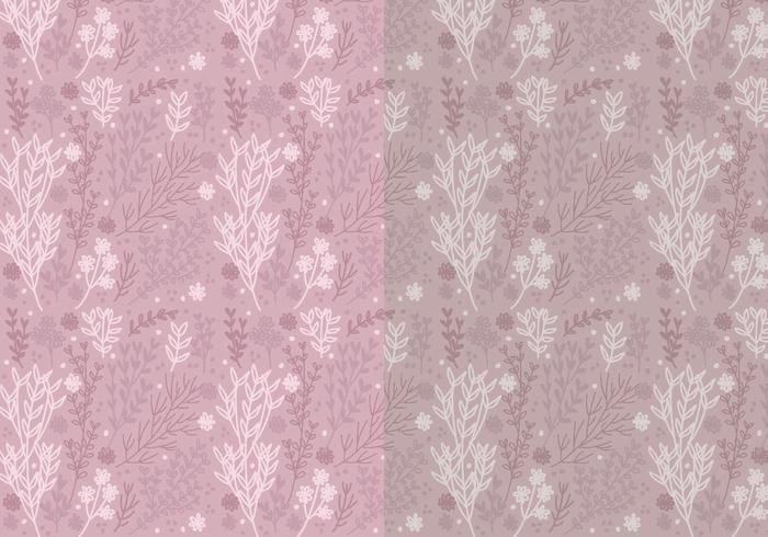 Two Vector Patterns of Hand Drawn Floral Elements