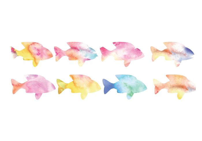 Vector Collection of Watercolor Fishes