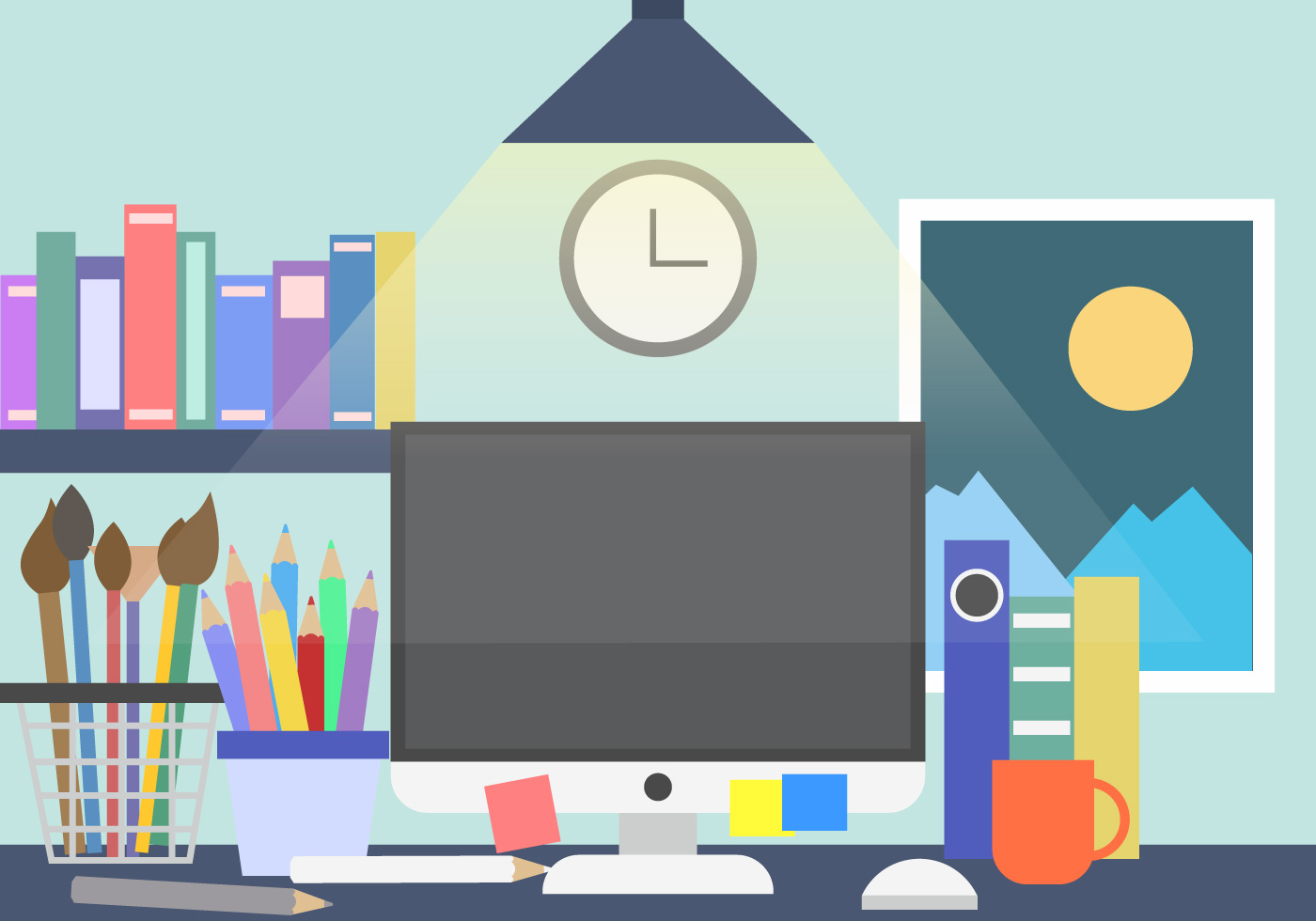 Creative work space desk vector background download free for Creative use of space