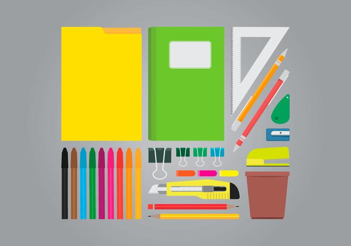 Office Table Supplies Vector