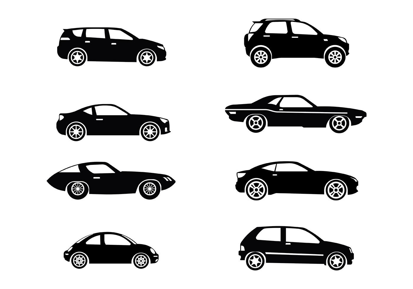 vector silueta carros iconos