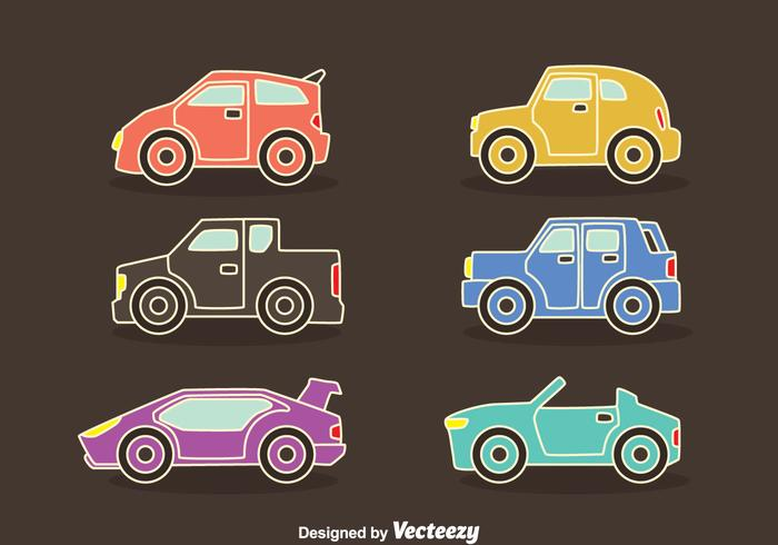 Colorful Cars Collection Vectors