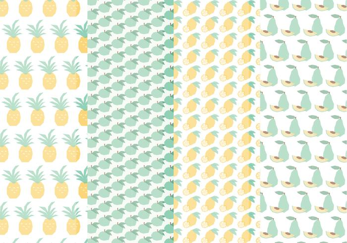 Vector Seamless Patterns of handritad frukt