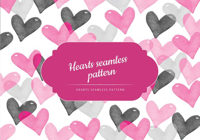Vector Seamless Pattern of Watercolor Hearts