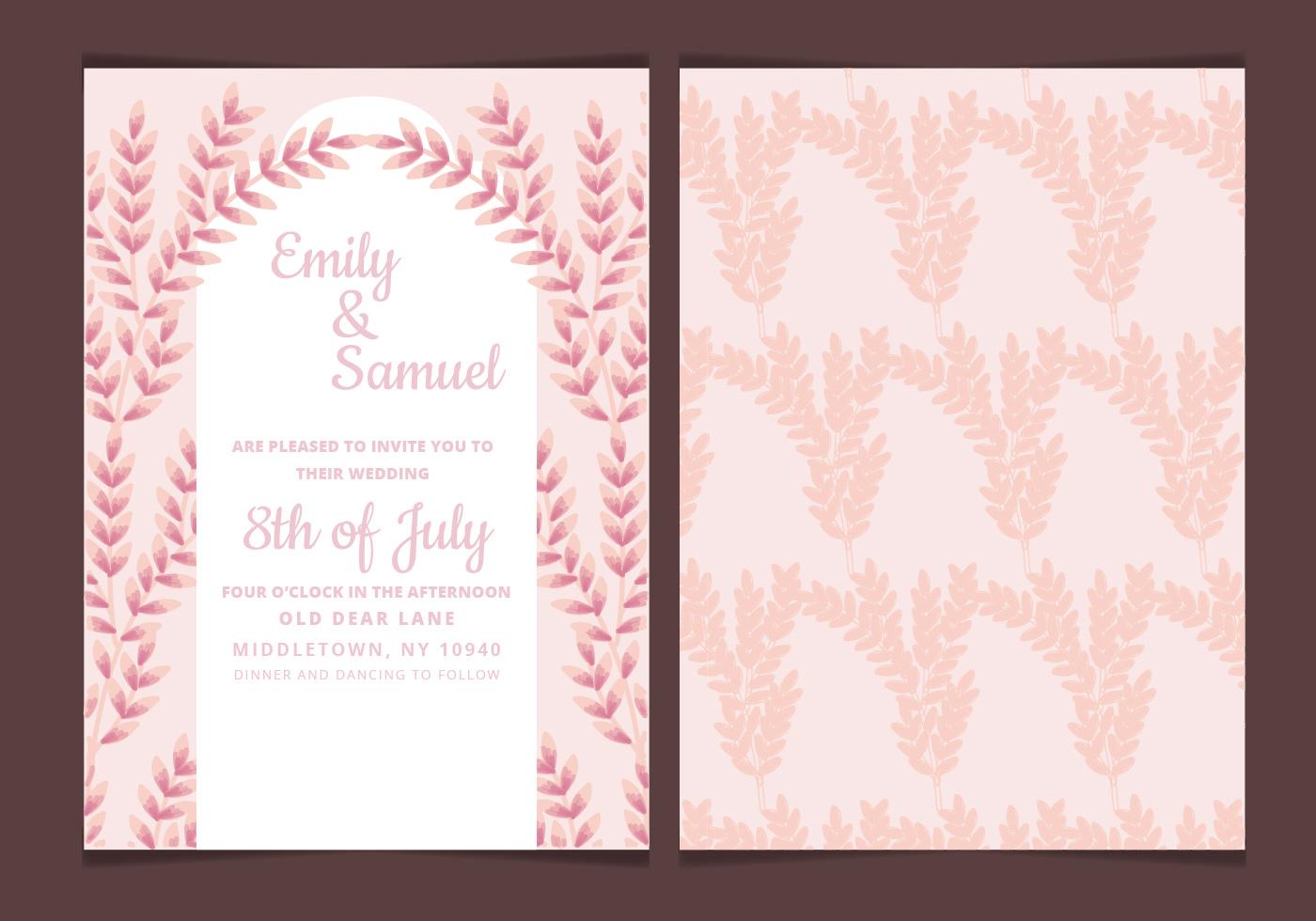 Vector Wedding Invitations: Vector Wedding Invitation With Feminine Branches