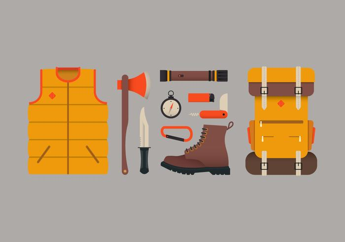 Camping Equipment and Survival Tools vector