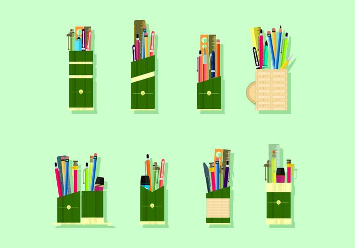 Bamboo Pen Holder Gratis Vector
