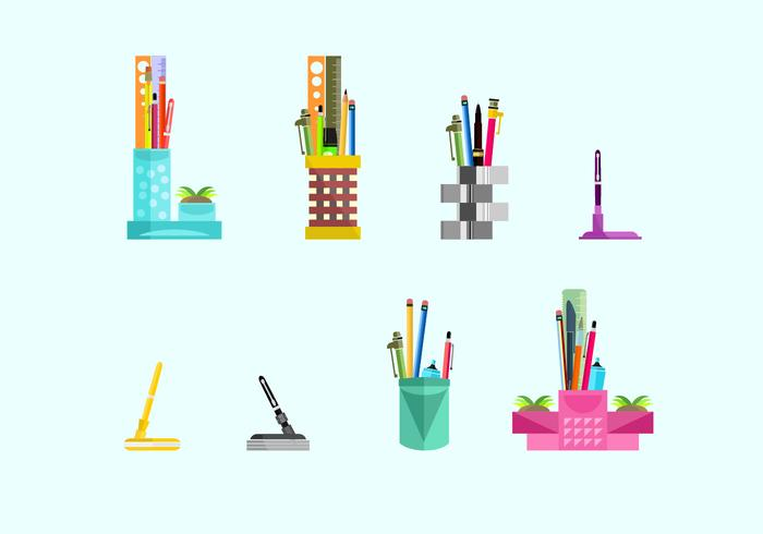 Cute Pen Holder Free Vector