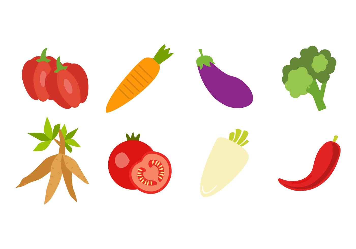 Free Fresh Vegetable Icons Vector - Download Free Vectors