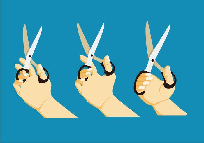 Mão segurando uma tesoura de corte ilustração