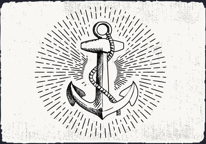Free Hand fundo desenhado Anchor vetor