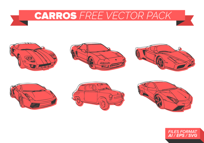 Red Carros Free Vector Pack