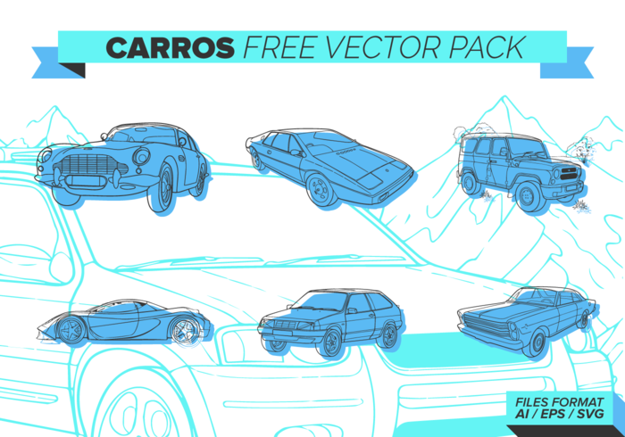 Blue Carros Free Vector Pack