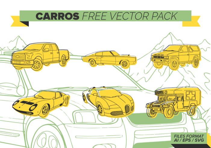 Yellow Carros Free Vector Pack