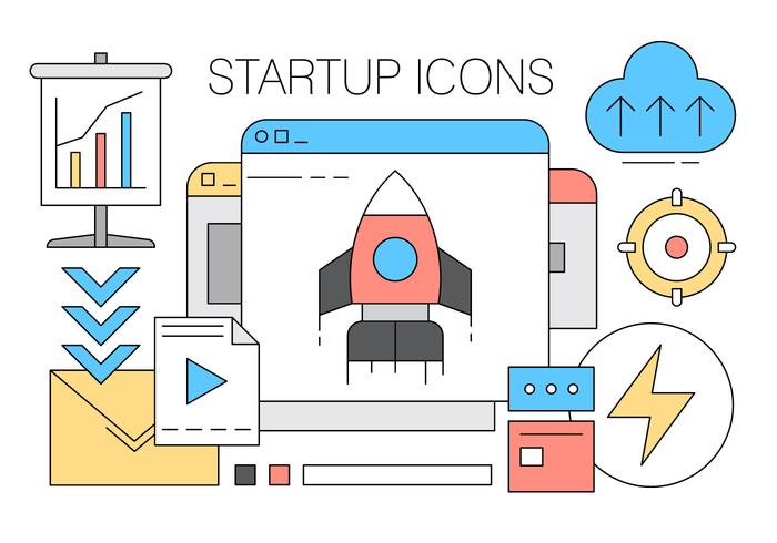 Collection of Startup Icons in Vector