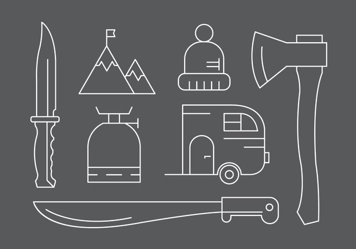 Free Camping / Hiking Icons in Vector
