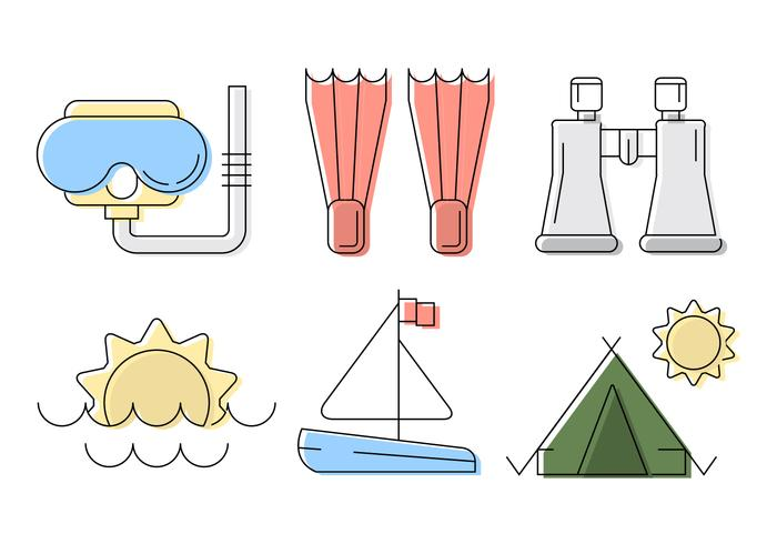 Vector Beach och Travel Illustration Set