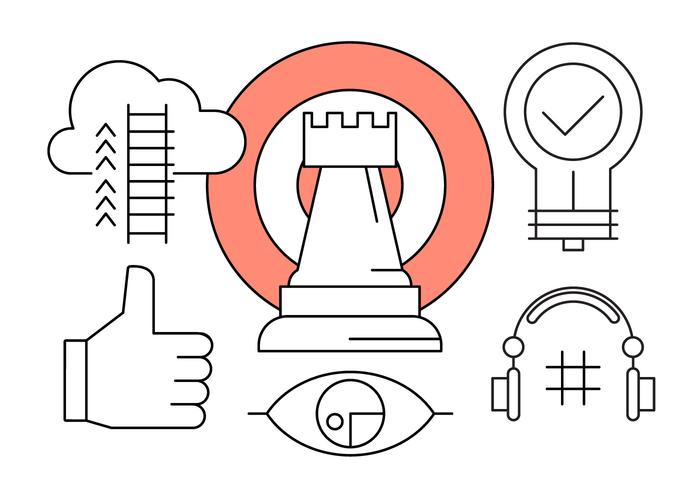 Icons about Business Growth and Marketing Vision in Vector