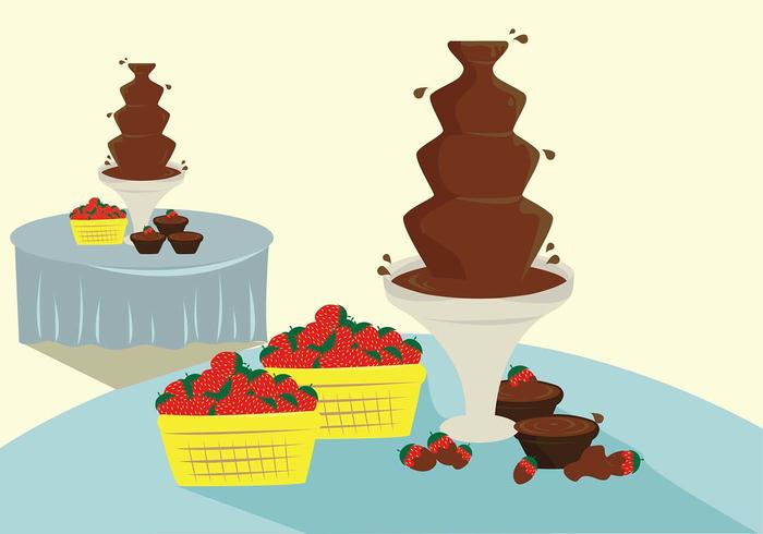 Dessert Table Fountain Chocolade Vector