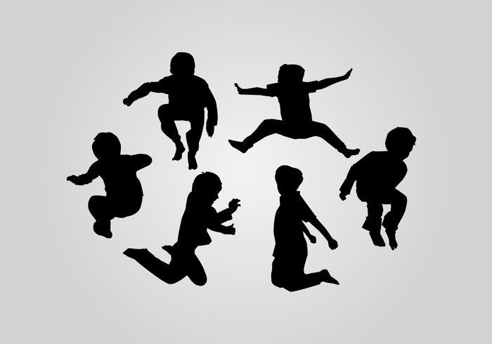 Salto de la silueta de los niños Vectores