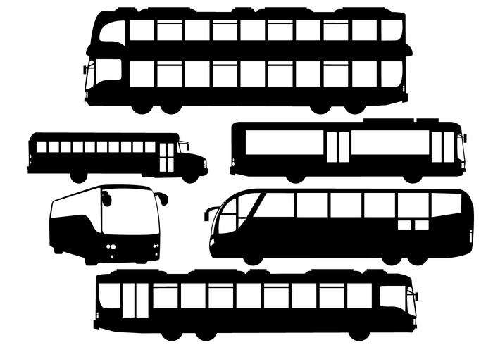 Vector Silhouette Buses