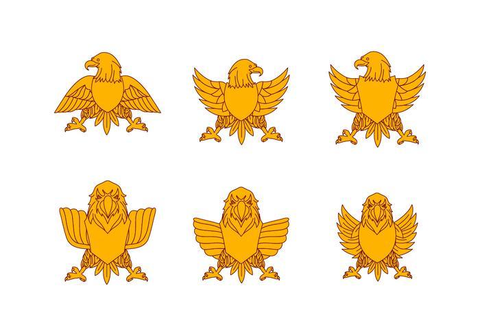 Yellow Flat Eagle Seal Vectors
