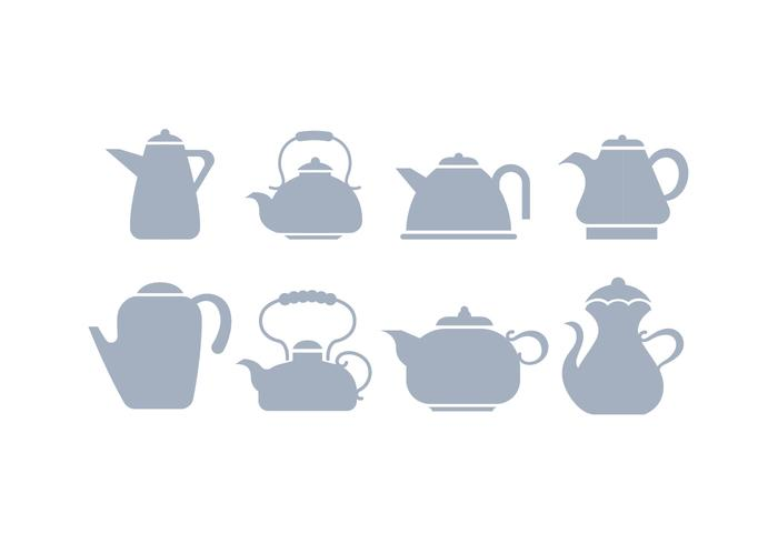Grey Silhouette Teapot Icon Vectors