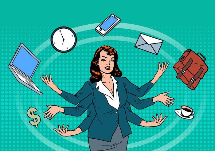 Business Superwoman Time Management Vector