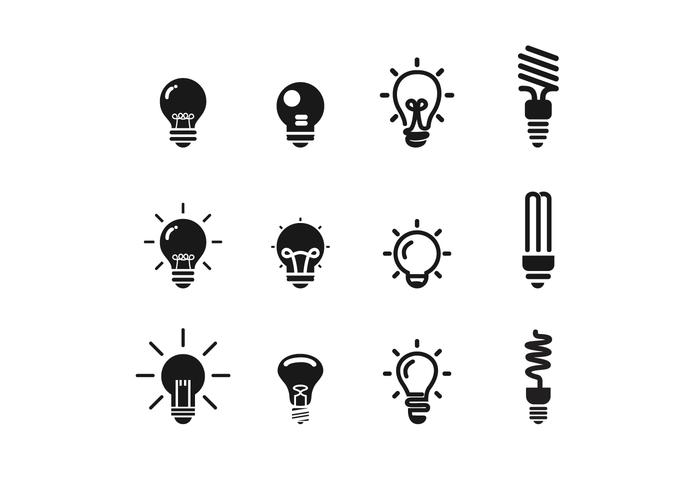 BW Ampoule Icon Vector Set