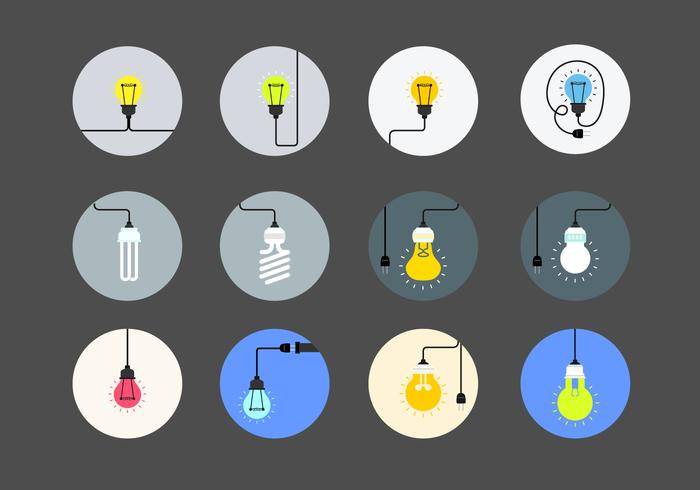 Flat Light Bulb Vector Collection