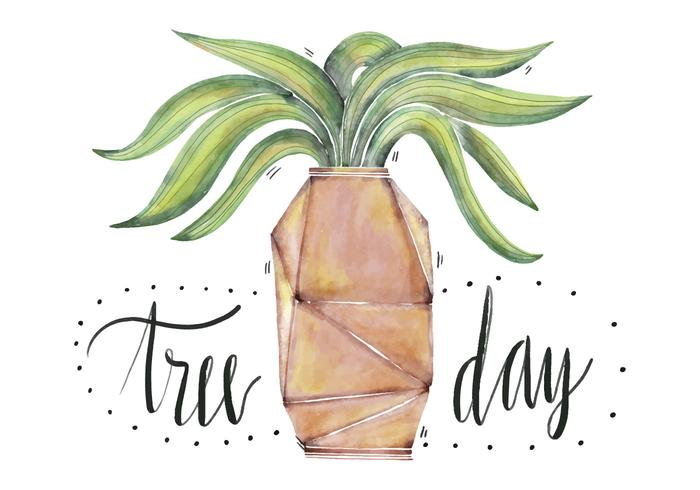 Watercolor Cute Illustration Plant With Geometric Flower Pot