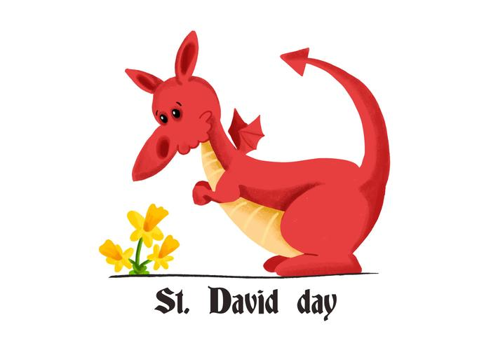Söt Red Dragon Saint David dag med den gula blomman
