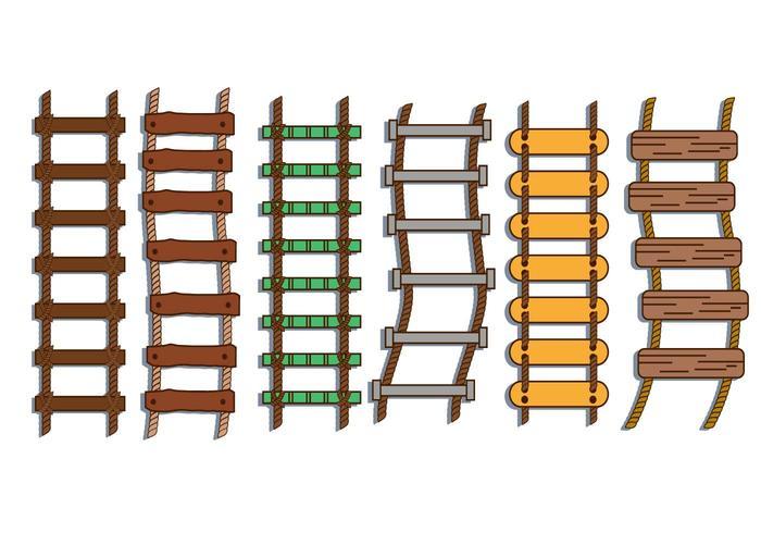 Rope ladder illustration vector set