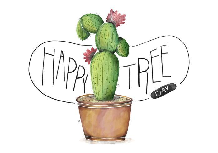 Lindo Cactus muy colorido Ilustración Con flores de la acuarela Feliz Día del árbol