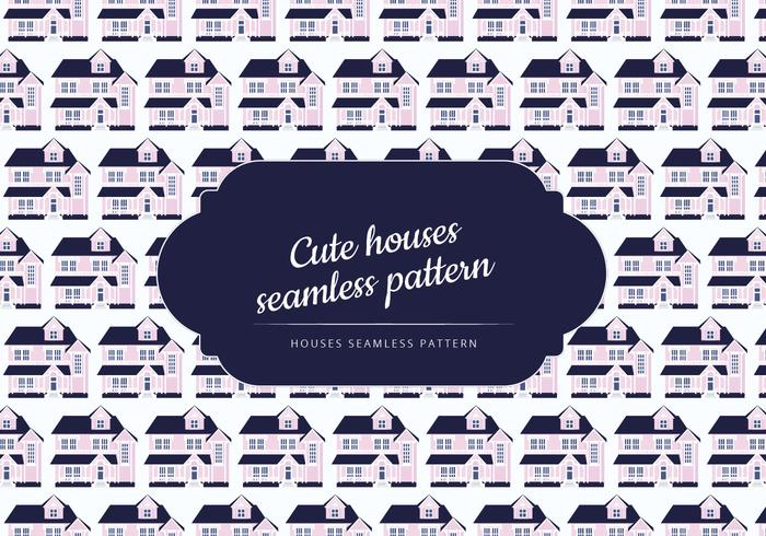 Vector Seamless Pattern of a Cute House