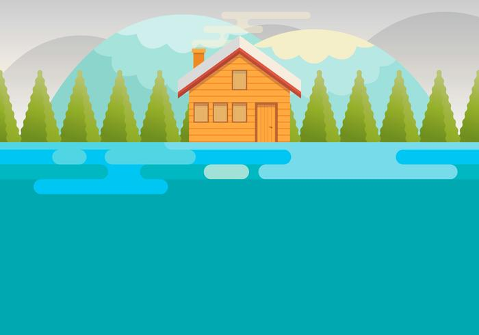 Holiday House In Snow Landscape Vector