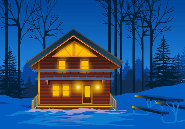 Alpine Chalet at Night Vector