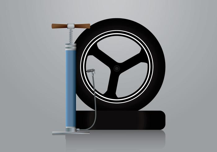 Air Pump and Motorbike Tire Vector