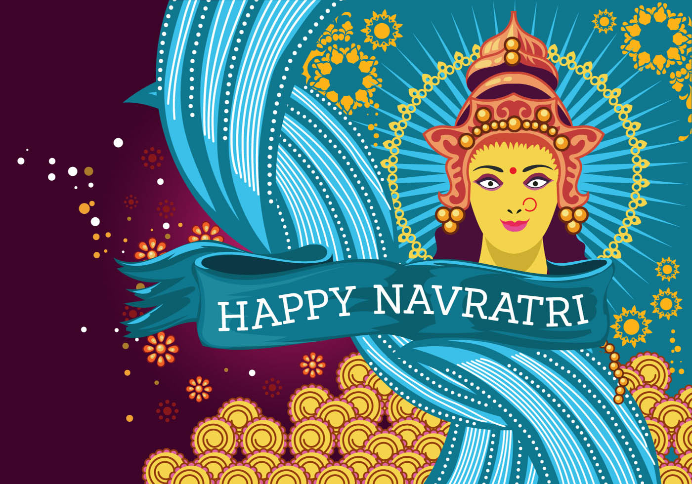 Beautiful Greeting Card With Durga For Navratri Vector Download