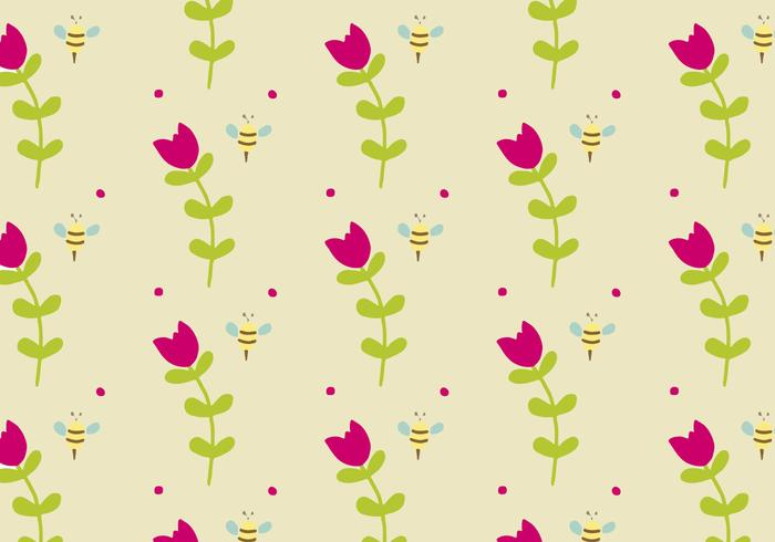 Background Daun with Flowers & Bees