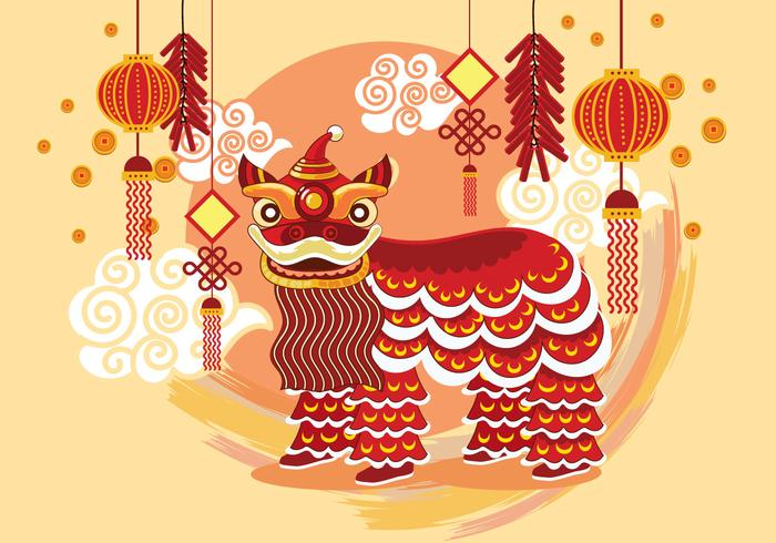 Traditional Chinese Lion Dance Festival Background
