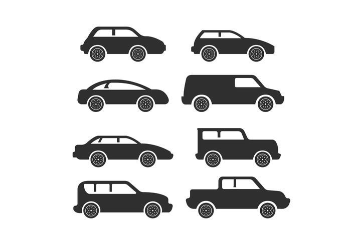 Simple Car Icon Silhouette Vectors