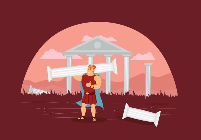 Hercules With Ruins of Temple Illustration