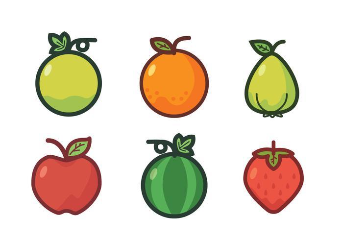 Fruit Fridge Magnet Vector Set